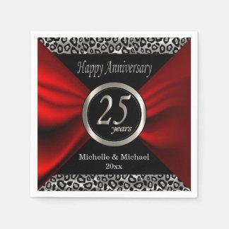 25th Silver Wedding Anniversary | Leopard Pattern Napkin