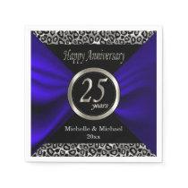 25th Silver Wedding Anniversary | Leopard Pattern Paper Napkin