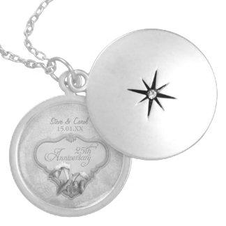 25th Silver Wedding Anniversary Locket Necklace