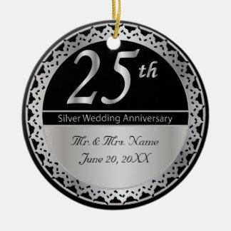 25th Silver Wedding Anniversary Memento Ceramic Ornament