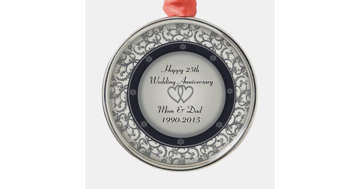 25th Silver Wedding Anniversary Metal Ornament Zazzle