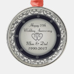 25th Silver Wedding Anniversary Metal Ornament