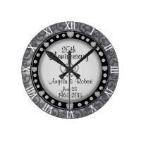 25th Silver Wedding Anniversary Monogram Round Clock
