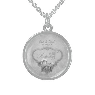 25th Silver Wedding Anniversary Round Pendant Necklace