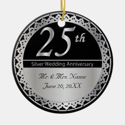 25th Silver Wedding Anniversary Ornament Zazzle