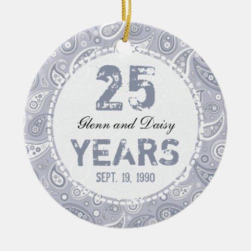 25th Silver Wedding Anniversary Paisley Monogram Double Sided Ceramic Round C