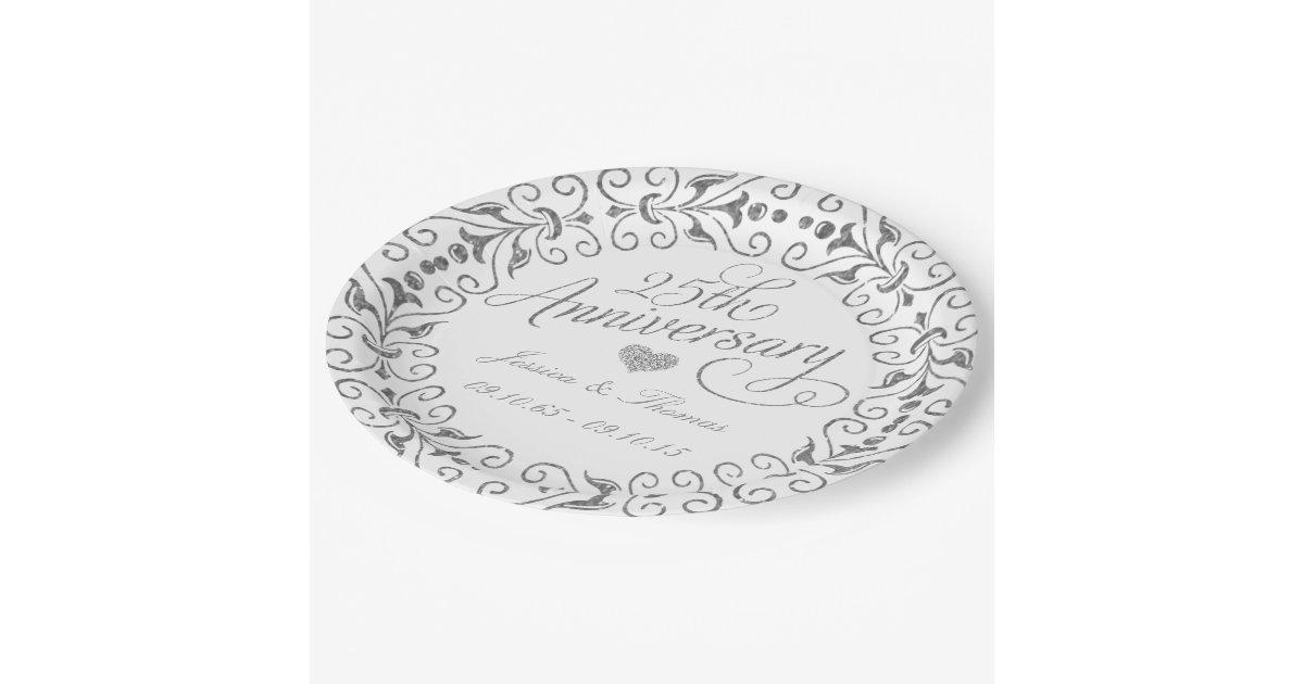 25th Silver Wedding Anniversary Paper Plate Zazzle
