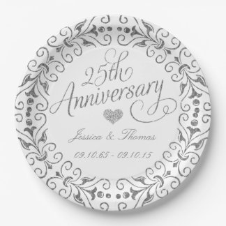 25th Silver Wedding Anniversary Paper Plate