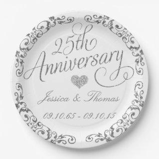 25th Silver Wedding Anniversary Paper Plate at Zazzle