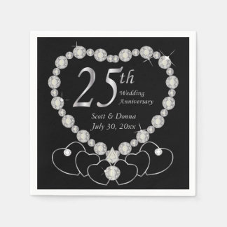 25th Silver Wedding Anniversary Party Napkins