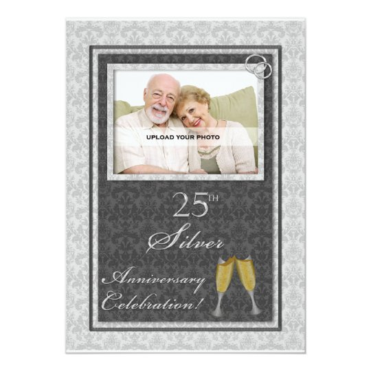 25th Silver Wedding Anniversary Photo Invitations