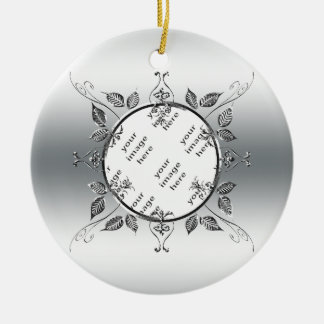 25th Silver Wedding Anniversary Photo Keepsake Double-Sided Ceramic Round Christmas Ornament