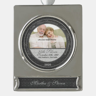25th Silver Wedding Anniversary   Photo Ornament Silver Plated Banner Ornament
