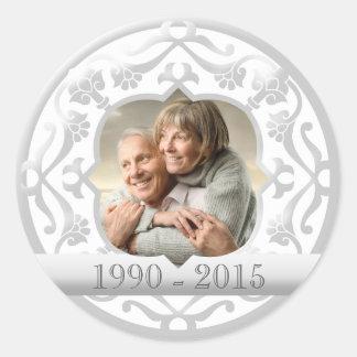 25th silver wedding anniversary photo stickers. classic round sticker