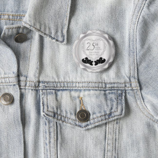 25th Silver Wedding Anniversary Pinback Button