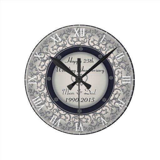 25th Silver Wedding Anniversary Round Clock Zazzle
