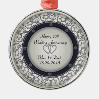 25th Silver Wedding Anniversary Round Metal Christmas Ornament