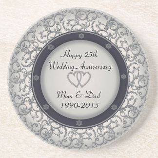 25th Silver Wedding Anniversary Sandstone Coaster