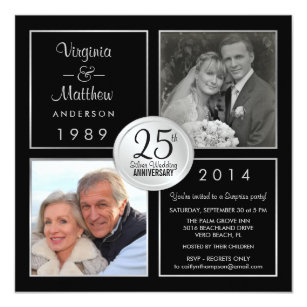 25th wedding anniversary invitations zazzle 25th silver wedding anniversary surprise party card stopboris Image collections
