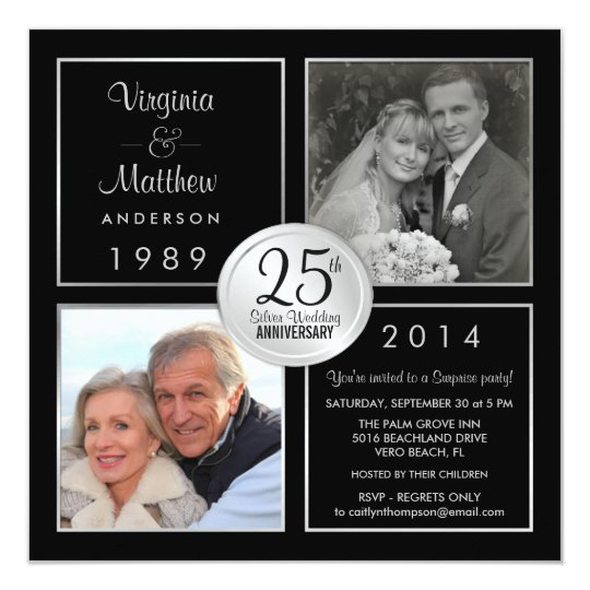 25th silver wedding anniversary surprise party card | zazzle, Party invitations