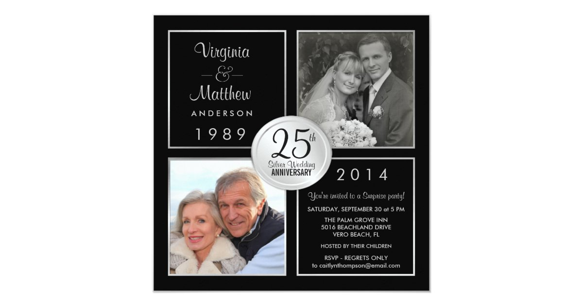 25th Wedding Anniversary Gift Experiences : 25th Silver Wedding Anniversary Surprise Party Card Zazzle
