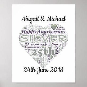Art Themed 25th Silver Wedding Anniversary Word Art Print