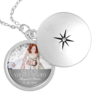 25th Silver Wedding Annivsersary Custom Photo Silver Plated Necklace