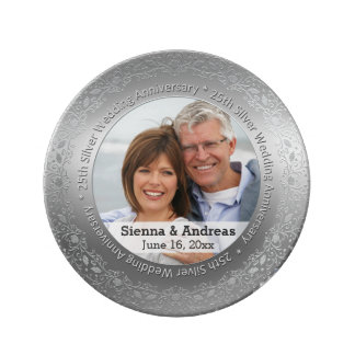 25th Silver wedding with a photo Porcelain Plate