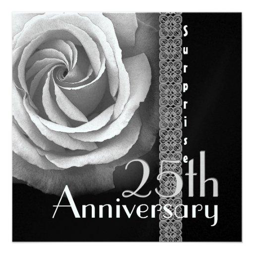 25th SURPRISE Anniversary Invitation - SILVER Rose