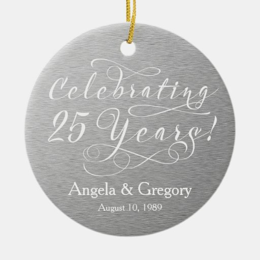 25th Wedding Anniversary 25 Silver White Double Sided Ceramic Round Christmas