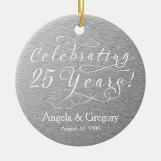 25th Wedding Anniversary 25 Silver White Double-Sided Ceramic Round Christmas Ornament