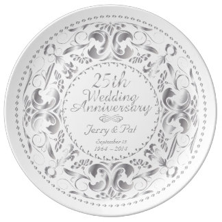 25th Wedding Anniversary 2 - Ceramic Plate