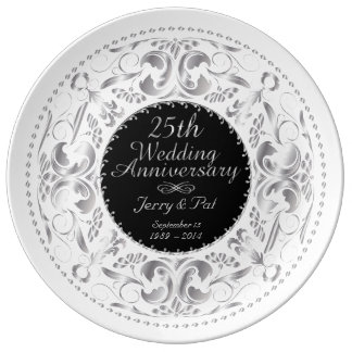 25th Wedding Anniversary 3 - Ceramic Plate Porcelain Plates