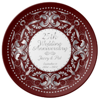 25th Wedding Anniversary 4 - Ceramic Plate Porcelain Plates