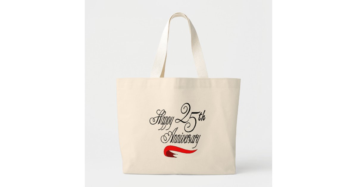 25th wedding anniversary a large tote bag Zazzle