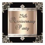 25th Wedding Anniversary Art Deco Black Coffee Invite