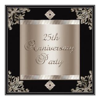 25th Wedding Anniversary Art Deco Black Sepia Card