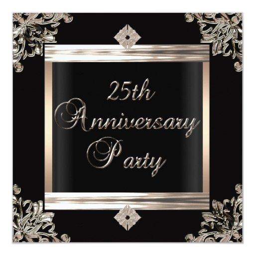 25th Wedding Anniversary Gift Experiences : 25th Wedding Anniversary Art Deco Black Silver Card Zazzle