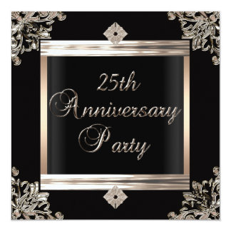 25th Wedding Anniversary Art Deco Black Silver Custom Announcements