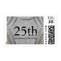 25th Wedding Anniversary Black and Silver Sparkle Postage