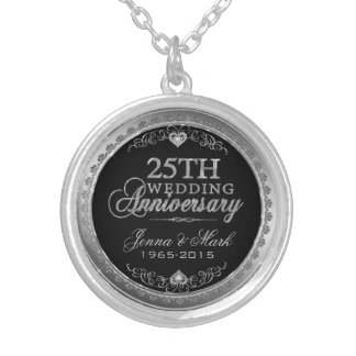 25th Wedding Anniversary Black Silver & Diamonds Silver Plated Necklace