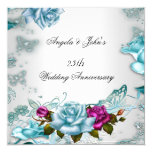 25th Wedding Anniversary Blue Floral Pink 5.25x5.25 Square Paper Invitation Card
