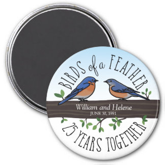 25th Wedding Anniversary, Bluebirds of a Feather 3 Inch Round Magnet
