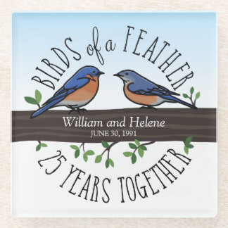 25th Wedding Anniversary, Bluebirds of a Feather Glass Coaster