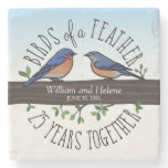 25th Wedding Anniversary, Bluebirds of a Feather Stone Coaster