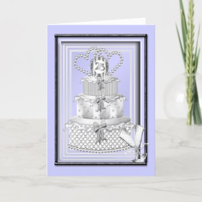 Silver wedding 25th anniversary greetings card postage to match