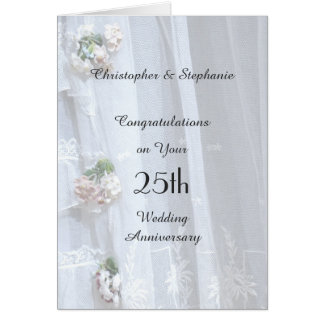 25th Wedding Anniversary Card, Vintage Lace Card