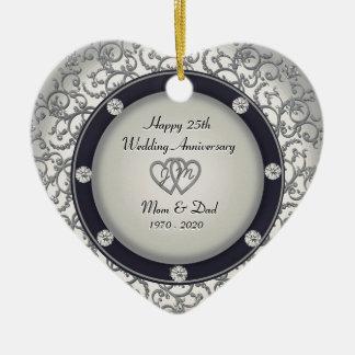 25th Wedding Anniversary Ceramic Ornament