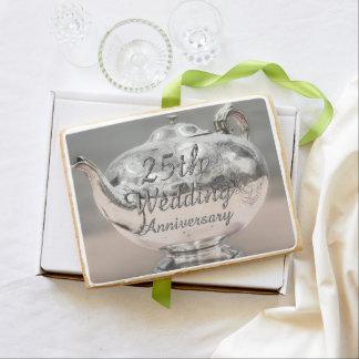 25th Wedding Anniversary Chic Silver Teapot Jumbo Shortbread Cookie