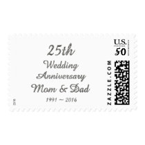 25th Wedding Anniversary Chic Silver Typography Postage